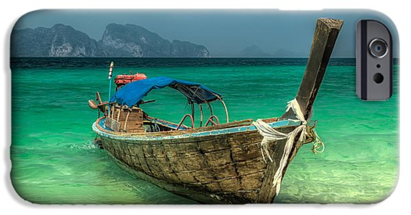 Coastline Digital Art iPhone Cases - Thai Boat  iPhone Case by Adrian Evans