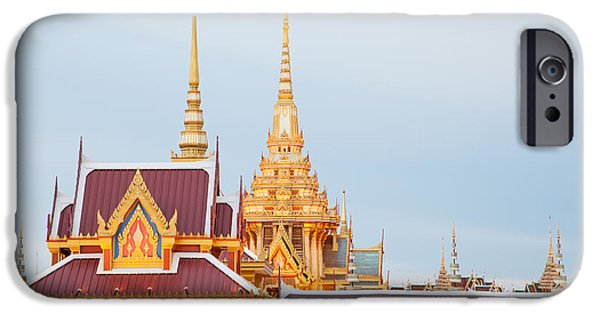 Built Structure Sculptures iPhone Cases - Thai construction design. iPhone Case by Vachiraphan Phangphan