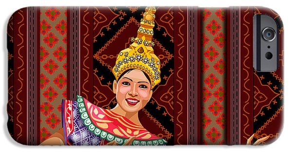 Smiling Mixed Media iPhone Cases - Thai Dancer iPhone Case by Bedros Awak