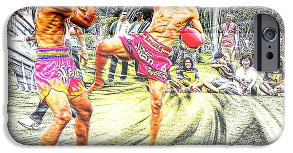 Muay Thai Digital Art iPhone Cases - Thai Kick Boxing iPhone Case by Ian Gledhill