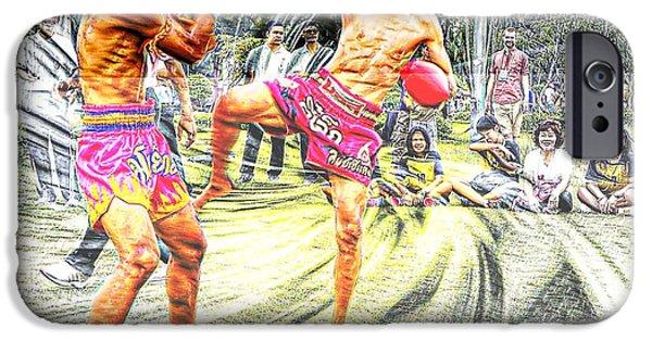 Muay Thai Digital iPhone Cases - Thai Kick Boxing iPhone Case by Ian Gledhill