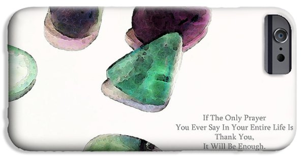 Affirmation iPhone Cases - Thank You - Gratitude Rocks By Sharon Cummings iPhone Case by Sharon Cummings