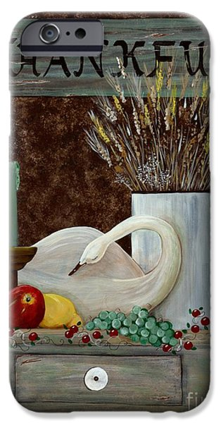 Earth Tones Drawings iPhone Cases - Thankful iPhone Case by Judy Redder