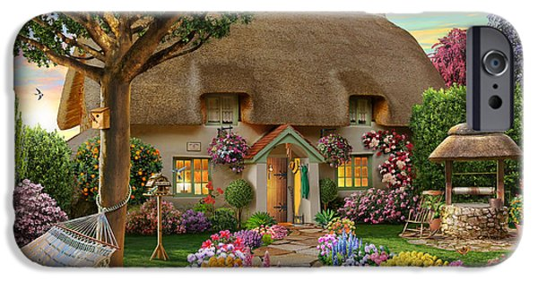 Best Sellers -  - Floral Digital Art Digital Art iPhone Cases - Thatched Cottage iPhone Case by Adrian Chesterman