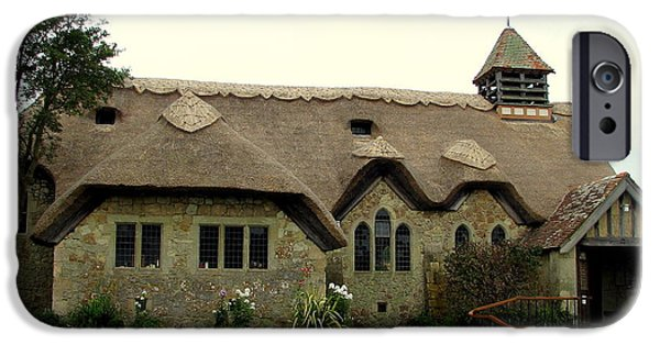 Recently Sold -  - Overhang iPhone Cases - Thatched St. Agnes Church in Freshwater Isle of Wight with border iPhone Case by Carla Parris