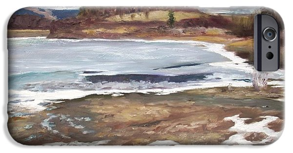 Winter Scene iPhone Cases - Thawing Lake iPhone Case by John Sumereau