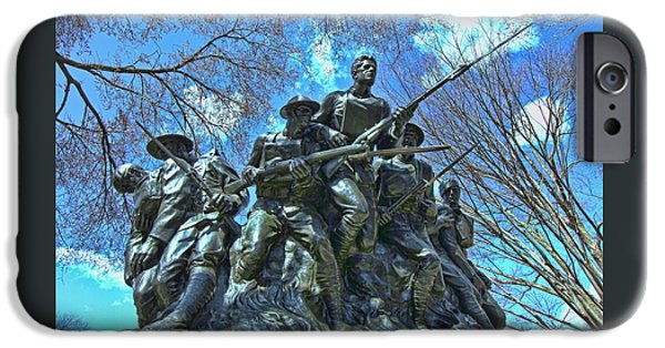 5th Infantry Regiment iPhone Cases - The 107th Infantry Memorial Sculpture iPhone Case by Allen Beatty