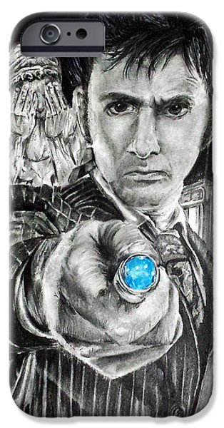 Weeping Drawings iPhone Cases - The 10th Doctor iPhone Case by S G Williams