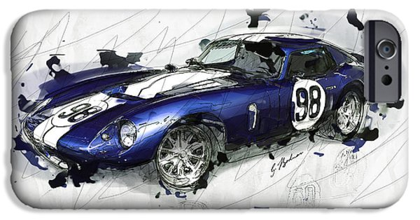 Snake Digital iPhone Cases - The 1965 Ford Cobra Mustang iPhone Case by Gary Bodnar