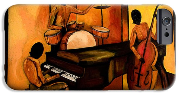 French Quarter Paintings iPhone Cases - The 1st Jazz Trio iPhone Case by Larry Martin