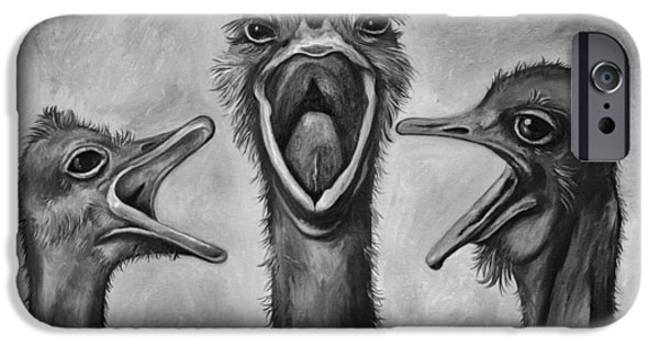Emu iPhone Cases - The 3 Tenors bw iPhone Case by Leah Saulnier The Painting Maniac