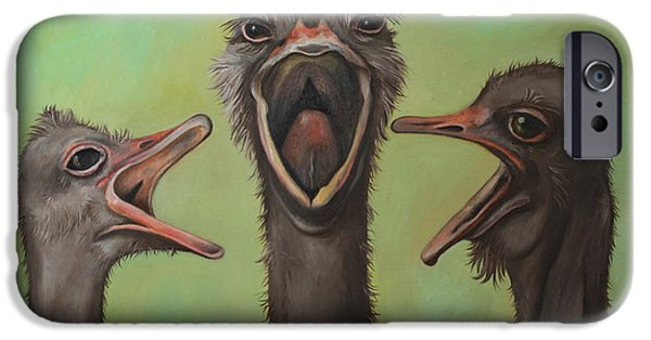 Emu iPhone Cases - The 3 Tenors iPhone Case by Leah Saulnier The Painting Maniac