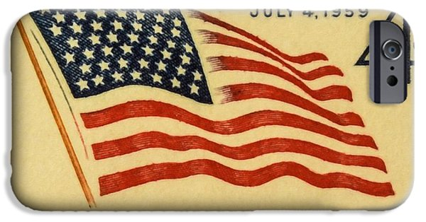 Star Spangled Banner Paintings iPhone Cases - The 49 Star Flag stamp iPhone Case by Lanjee Chee
