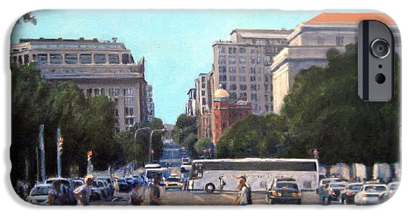 Smithsonian Paintings iPhone Cases - The 7th Street Shuffle iPhone Case by David Zimmerman