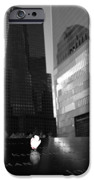 Twin Towers Nyc iPhone Cases - The 911 Memorial In Black And White iPhone Case by Dan Sproul