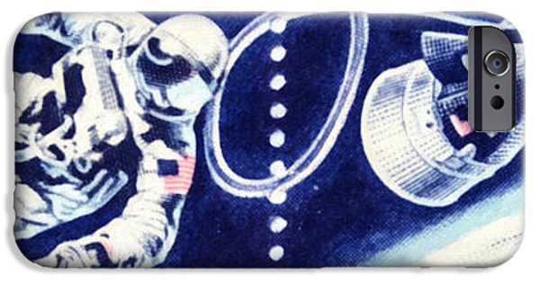 Concept Paintings iPhone Cases - The Accomplishments in Space stamps iPhone Case by Lanjee Chee