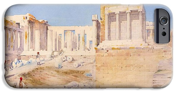 Ruin iPhone Cases - The Acropolis At Athens, 1844 Wc On Paper iPhone Case by Gustave Bougerel