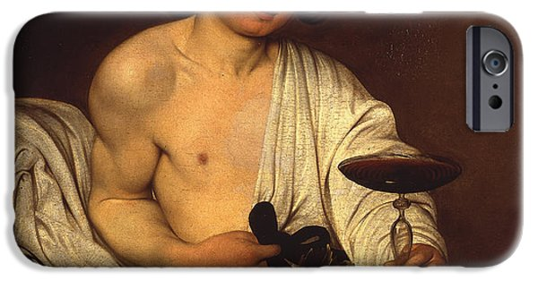 Italian Wine Paintings iPhone Cases - The Adolescent Bacchus iPhone Case by Caravaggio