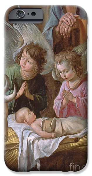 Nativity Paintings iPhone Cases - The Adoration iPhone Case by Le Nain