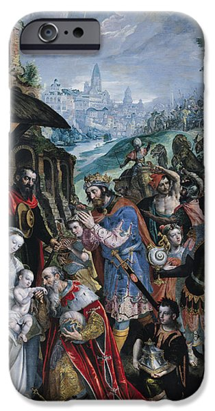 Adoration iPhone Cases - The Adoration Of The Magi Oil On Canvas iPhone Case by Maarten de Vos