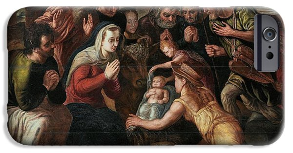 The Followers Paintings iPhone Cases - The Adoration of the Shepherds iPhone Case by Celestial Images