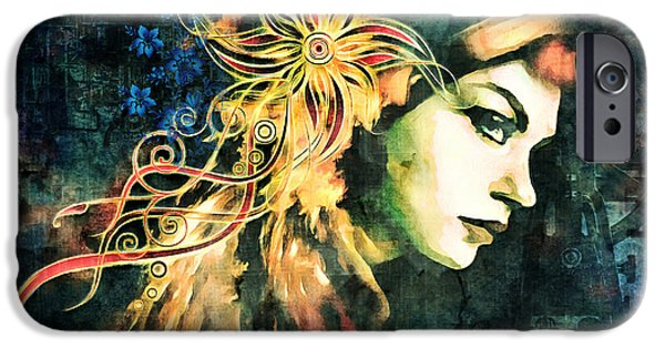 Artistic Portraiture iPhone Cases - The Adultress Grunge Art iPhone Case by Georgiana Romanovna
