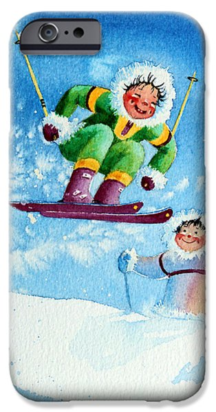 Kids Sports Art iPhone Cases - The Aerial Skier - 10 iPhone Case by Hanne Lore Koehler