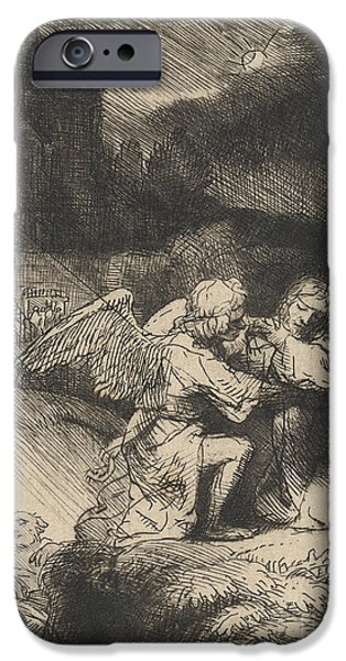 Christ Drawings iPhone Cases - The Agony in the garden iPhone Case by Rembrandt