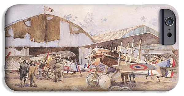 World War One iPhone Cases - The Airfield, 1918 Wc On Paper iPhone Case by Francois Flameng