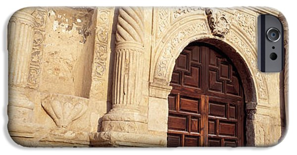 Entrance Door Photographs iPhone Cases - The Alamo San Antonio Tx iPhone Case by Panoramic Images