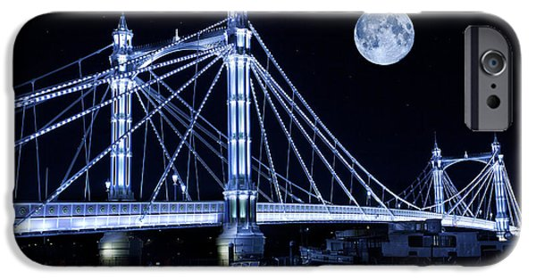 Super Moon iPhone Cases - The Albert Bridge and The Moon iPhone Case by Simon Kayne