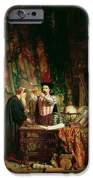 Curtains iPhone Cases - The Alchemist, 1853 iPhone Case by William Fettes Douglas