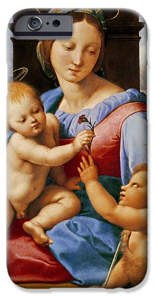 Baptist Paintings iPhone Cases - The Aldobrandini Madonna or The Garvagh Madonna iPhone Case by Raphael