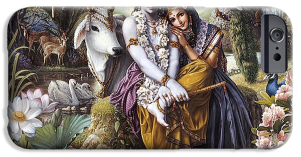Hindu iPhone Cases - The All-Attractive Couple iPhone Case by Vishnudas Art