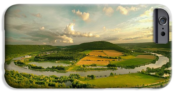 Field. Cloud iPhone Cases - The Altmuhl Valley in Bavaria iPhone Case by Dieter Scharnagl