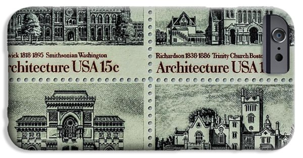 Smithsonian Paintings iPhone Cases - The American Architecture stamps iPhone Case by Lanjee Chee
