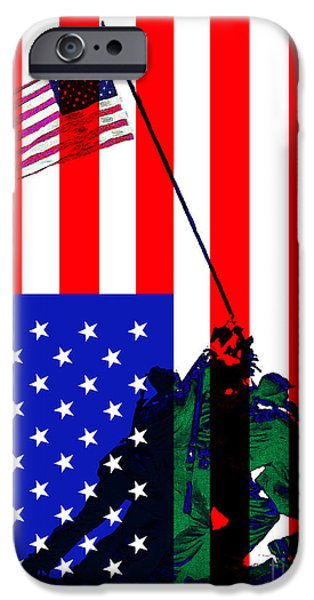 4th July iPhone Cases - The American Flag Over Iwo Jima 20130210 iPhone Case by Wingsdomain Art and Photography