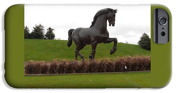 The Horse Sculptures iPhone Cases - The American Horse Sculpture iPhone Case by Dotti Hannum