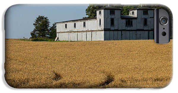 Agricultural iPhone Cases - The Ancient Double Tower Barn in Golden Wheat iPhone Case by Georgia Mizuleva
