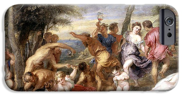 Mythological iPhone Cases - The Andrians a free copy after Titian iPhone Case by Peter Paul Rubens