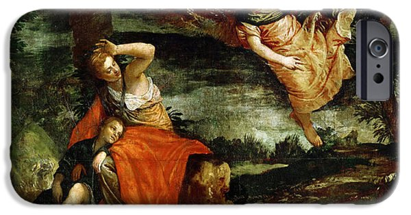 Paolo iPhone Cases - The angel appears to Hagar in the desert iPhone Case by Paolo Veronese