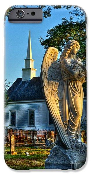 Graveyard Road iPhone Cases - The Angel Guardian of Walker United Methodist Church iPhone Case by Reid Callaway