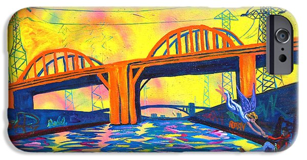 Recently Sold -  - Electrical iPhone Cases - The Angel of Sixth Street Bridge iPhone Case by Sean Boyce