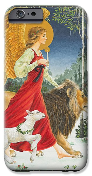 Snow Paintings iPhone Cases - The Angel The Lion and The Lamb iPhone Case by Lynn Bywaters