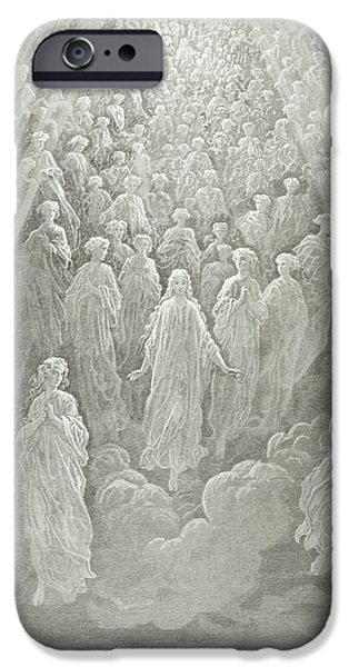 Christ Drawings iPhone Cases - The Angels in the Planet Mercury iPhone Case by Gustave Dore