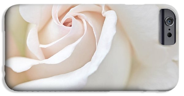 Peach Roses iPhone Cases - The Angels Peach Rose Flower iPhone Case by Jennie Marie Schell