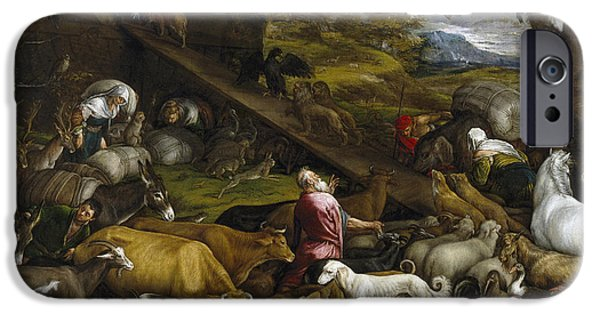 Noahs Ark Paintings iPhone Cases - The Animals Entering Noahs Ark iPhone Case by Jacopo Bassano