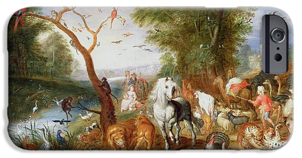 Swans... iPhone Cases - The Animals Entering Noahs Ark Panel iPhone Case by Jan van the Younger Kessel