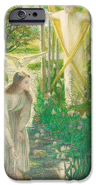 Annunciation iPhone Cases - The Annunciation, 1855 iPhone Case by Dante Gabriel Charles Rossetti