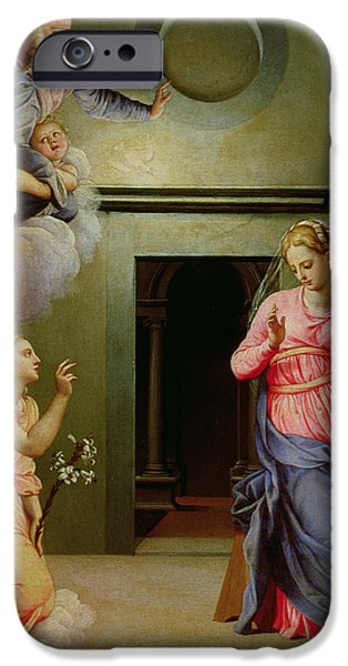 Annunciation iPhone Cases - The Annunciation iPhone Case by Agnolo Bronzino